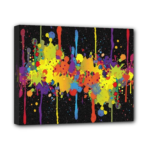 Crazy Multicolored Double Running Splashes Horizon Canvas 10  X 8  by EDDArt