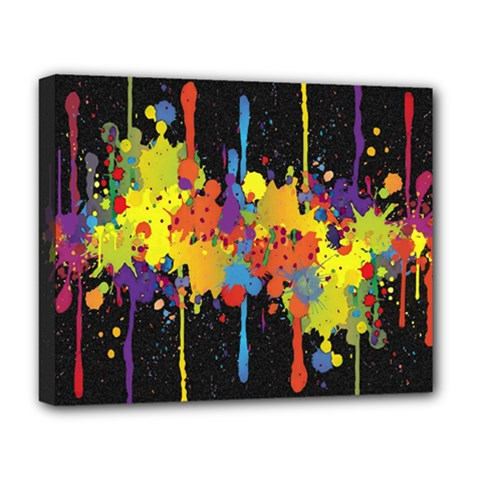 Crazy Multicolored Double Running Splashes Horizon Deluxe Canvas 20  X 16   by EDDArt