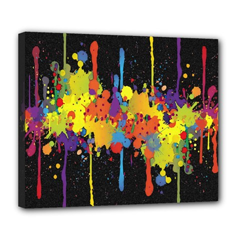 Crazy Multicolored Double Running Splashes Horizon Deluxe Canvas 24  X 20   by EDDArt