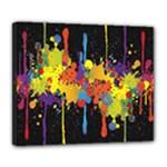 Crazy Multicolored Double Running Splashes Horizon Deluxe Canvas 24  x 20