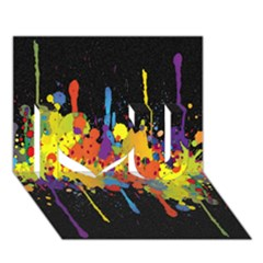 Crazy Multicolored Double Running Splashes Horizon I Love You 3d Greeting Card (7x5) by EDDArt