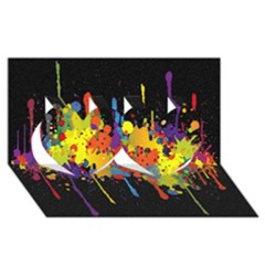 Crazy Multicolored Double Running Splashes Horizon Twin Hearts 3d Greeting Card (8x4) by EDDArt