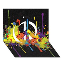 Crazy Multicolored Double Running Splashes Horizon Peace Sign 3d Greeting Card (7x5) by EDDArt