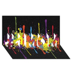 Crazy Multicolored Double Running Splashes Horizon #1 Mom 3d Greeting Cards (8x4) by EDDArt