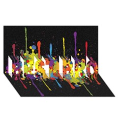 Crazy Multicolored Double Running Splashes Horizon Best Bro 3d Greeting Card (8x4) by EDDArt