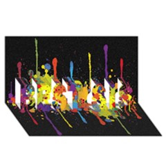 Crazy Multicolored Double Running Splashes Horizon Best Sis 3d Greeting Card (8x4) by EDDArt