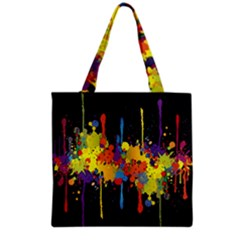 Crazy Multicolored Double Running Splashes Horizon Grocery Tote Bag by EDDArt