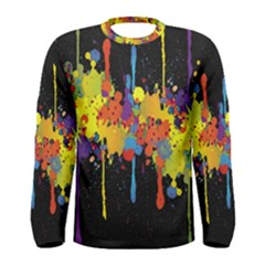 Crazy Multicolored Double Running Splashes Horizon Men s Long Sleeve Tee by EDDArt
