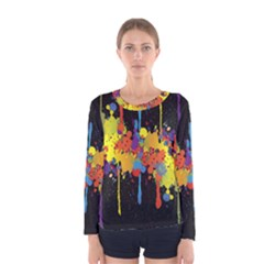 Crazy Multicolored Double Running Splashes Horizon Women s Long Sleeve Tee by EDDArt
