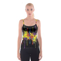 Crazy Multicolored Double Running Splashes Horizon Spaghetti Strap Top by EDDArt