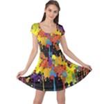 Crazy Multicolored Double Running Splashes Horizon Cap Sleeve Dresses