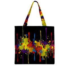 Crazy Multicolored Double Running Splashes Horizon Zipper Grocery Tote Bag by EDDArt