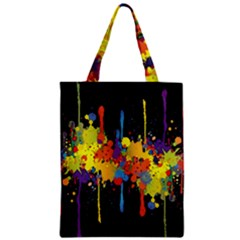 Crazy Multicolored Double Running Splashes Horizon Zipper Classic Tote Bag by EDDArt