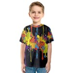 Crazy Multicolored Double Running Splashes Horizon Kids  Sport Mesh Tee