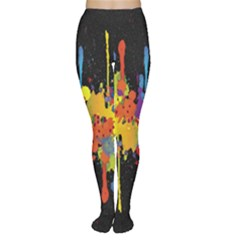 Crazy Multicolored Double Running Splashes Horizon Women s Tights by EDDArt