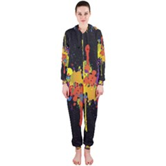 Crazy Multicolored Double Running Splashes Horizon Hooded Jumpsuit (ladies)  by EDDArt