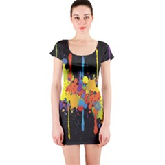 Crazy Multicolored Double Running Splashes Horizon Short Sleeve Bodycon Dress by EDDArt