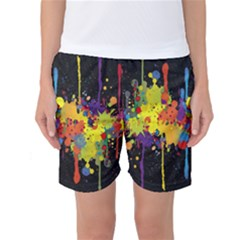 Crazy Multicolored Double Running Splashes Horizon Women s Basketball Shorts by EDDArt