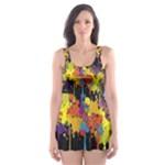 Crazy Multicolored Double Running Splashes Horizon Skater Dress Swimsuit