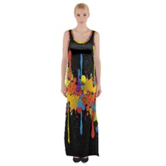 Crazy Multicolored Double Running Splashes Horizon Maxi Thigh Split Dress by EDDArt