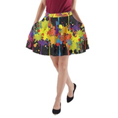 Crazy Multicolored Double Running Splashes Horizon A Line Pocket Skirt by EDDArt