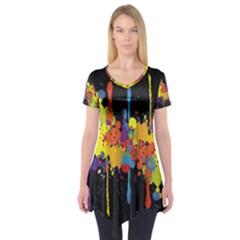 Crazy Multicolored Double Running Splashes Horizon Short Sleeve Tunic  by EDDArt