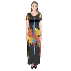 Crazy Multicolored Double Running Splashes Horizon Short Sleeve Maxi Dress by EDDArt