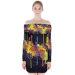 Crazy Multicolored Double Running Splashes Horizon Long Sleeve Off Shoulder Dress