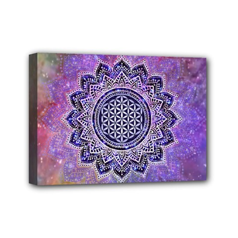 Flower Of Life Indian Ornaments Mandala Universe Mini Canvas 7  X 5  by EDDArt