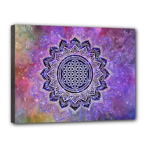 Flower Of Life Indian Ornaments Mandala Universe Canvas 16  X 12  by EDDArt