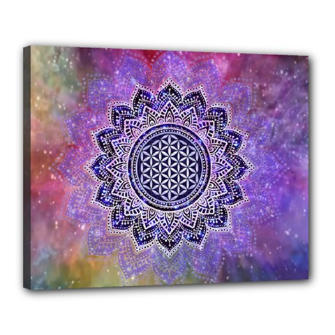 Flower Of Life Indian Ornaments Mandala Universe Canvas 20  X 16  by EDDArt