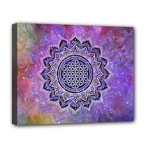 Flower Of Life Indian Ornaments Mandala Universe Deluxe Canvas 20  X 16   by EDDArt