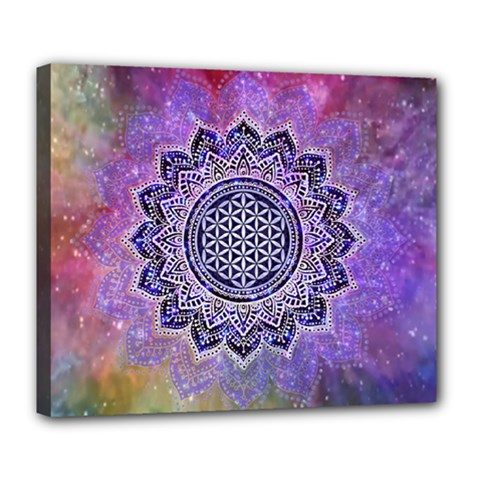 Flower Of Life Indian Ornaments Mandala Universe Deluxe Canvas 24  X 20   by EDDArt