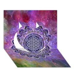 Flower Of Life Indian Ornaments Mandala Universe Heart 3d Greeting Card (7x5) by EDDArt
