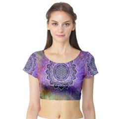 Flower Of Life Indian Ornaments Mandala Universe Short Sleeve Crop Top (tight Fit) by EDDArt