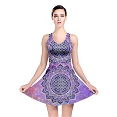 Flower Of Life Indian Ornaments Mandala Universe Reversible Skater Dress by EDDArt