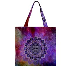 Flower Of Life Indian Ornaments Mandala Universe Zipper Grocery Tote Bag by EDDArt