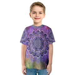 Flower Of Life Indian Ornaments Mandala Universe Kids  Sport Mesh Tee by EDDArt
