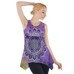 Flower Of Life Indian Ornaments Mandala Universe Side Drop Tank Tunic by EDDArt
