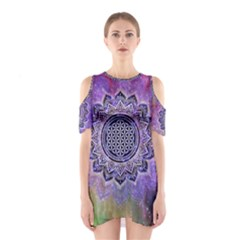 Flower Of Life Indian Ornaments Mandala Universe Cutout Shoulder Dress by EDDArt
