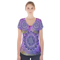Flower Of Life Indian Ornaments Mandala Universe Short Sleeve Front Detail Top by EDDArt