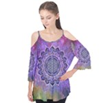 Flower Of Life Indian Ornaments Mandala Universe Flutter Tees