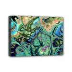 Fractal Batik Art Teal Turquoise Salmon Mini Canvas 7  x 5