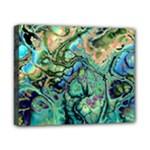 Fractal Batik Art Teal Turquoise Salmon Canvas 10  x 8