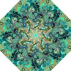 Fractal Batik Art Teal Turquoise Salmon Straight Umbrellas by EDDArt