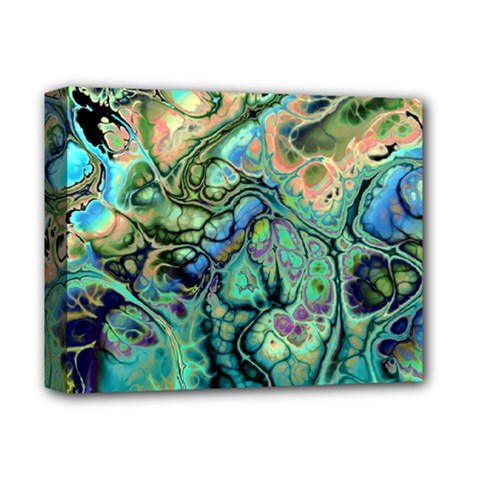 Fractal Batik Art Teal Turquoise Salmon Deluxe Canvas 14  X 11  by EDDArt