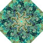 Fractal Batik Art Teal Turquoise Salmon Hook Handle Umbrellas (Large)