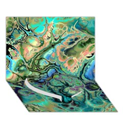 Fractal Batik Art Teal Turquoise Salmon Heart Bottom 3d Greeting Card (7x5) by EDDArt