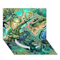 Fractal Batik Art Teal Turquoise Salmon Circle Bottom 3d Greeting Card (7x5) by EDDArt