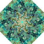 Fractal Batik Art Teal Turquoise Salmon Hook Handle Umbrellas (Small)